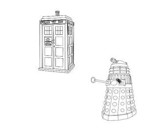 Doctor Who Tardis & Dalek Rubber Stamp set