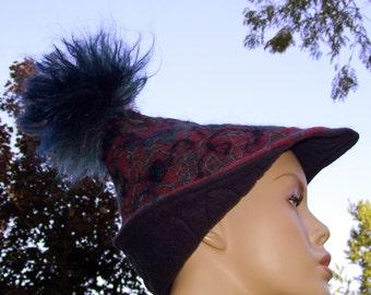 Wool Elf Hat Mohair Felted Alpine Red Blue Turquoise Adult Fun Festival Pixie Gnome Swirl Hat Birthday OOAK Felt Art Hat Mohair Pom Poms