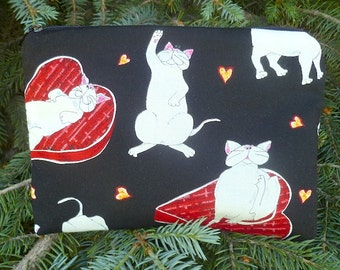 White cats zippered bag, makeup case, accessory bag, white kitty love, The Scooter