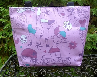 Roller Derby purse, long or short handles you pick, Derby Doll in bruise, The Trixie