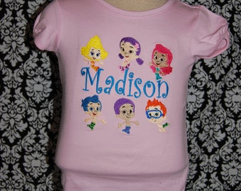 Bubble Fish Mermaid Guppy M2M Applique and Monogrammed Shirt  All of them as fill Custom Boutique size 12m 2 3 4 5 6 7 8 9 10