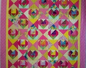 Hearts and Flowers Patchwork Quilt