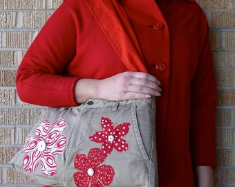 SALE Upcycled Pants Ruby Red Flowers Recycled Purse SALE