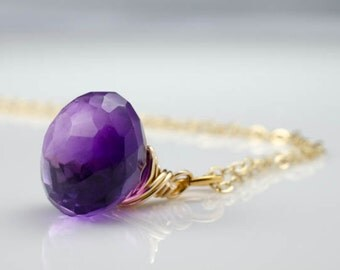 Amethyst Faceted Briolette Gold Necklace February Birthstone
