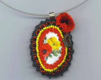 Poppy /Poppies Beadwork . Beadwoven Floral Pendant . Choker Necklace . OOAK Valentine Necklace- Red Poppy Pendant by enchantedbeads on Etsy