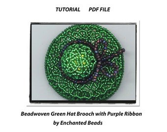PDF File COMMERCIAL Tutorial . DIY. Green Hat Brooch . Beadwoven Hat Brooch . Download . Beadwork - Instructions by enchantedbeads on Etsy