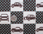Echino Ni-co Car Patchwork Brown Fabric- Half Yard
