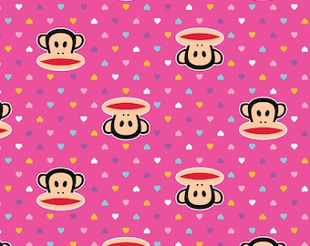 Paul Frank, Julius And Mini Hearts Pink Fabric - Half Yard