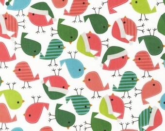 SALE Ann Kelle, Jingle 2, Holiday Birds in Vintage Fabric - Half Yard