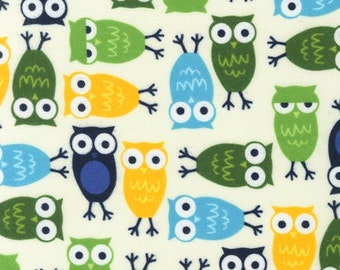 Ann Kelle, Urban Zoologie Owls Marine FLANNEL Fabric - REMNANT Size 21 Inches by 42 Inches