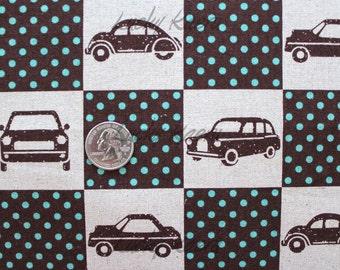 Echino Ni-co Car Patchwork Brown Fabric- Half Yard
