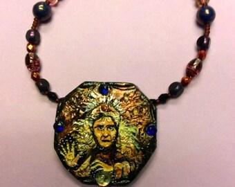FairyGlass Cosmic Caravan Gypsy Fortune Teller Polymer Handpainted OOAK Pendant