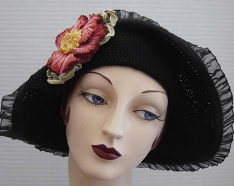 Black Cotton Crochet Flapper Style Hat On Sale