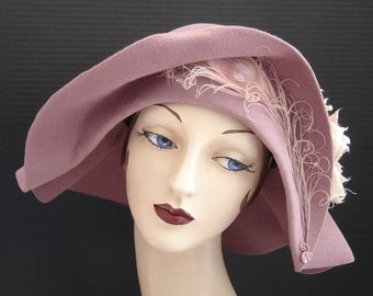 Rosy Mauve Velour Glamour Girl 1920 Style Hat