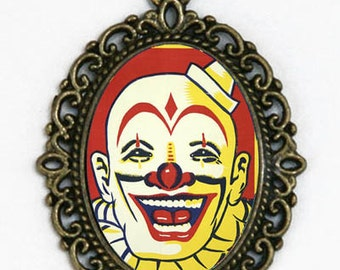 Circus Clown Face necklace pendant retro sideshow