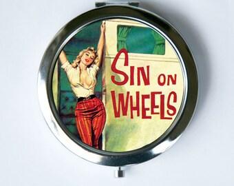 Sin On Wheels Compact Mirror Pocket Mirror retro rockabilly
