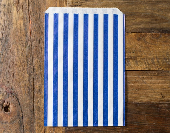 custom listing for BECK122 - 200 striped bags - 5 X 7 - candy, treat, or gift - blue and white