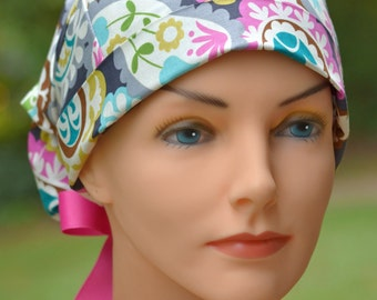 Large Surgical Scrub Cap or Cancer Hat -Perfect Fit Tie Back with RIBBON TIES- Boho