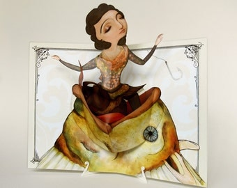 Lady Fish Pop Up Greeting Card - Great Surprise for a birthday. Fun gift, thinking of you, special occasion, congratulations pop up art.