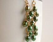 Green Pearl Cascade Earrings. Mistletoe Earrings.