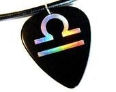 Libra sign guitar pick necklace, black & silver, hot foil stamped