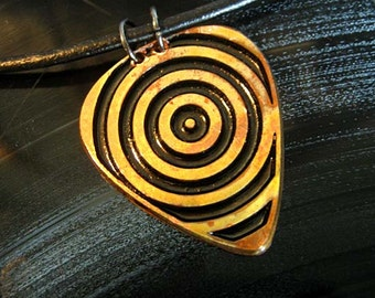Target, Engraved Copper Guitar Pick Necklace