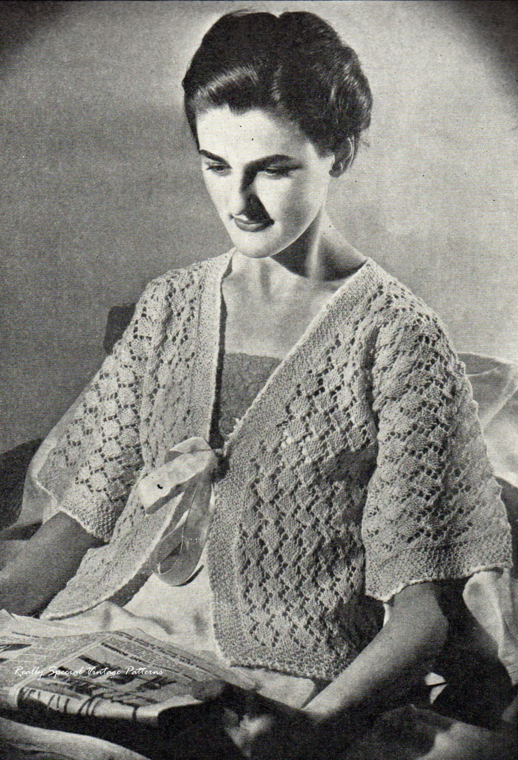 Vintage 1930sLace Bed Jacket Cardigan Knitting by PamoolahVintage