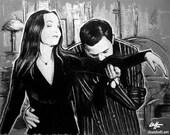 """Drucken Sie 11 x 14""""- Oh Tish, ich liebe es, wenn Sie Französisch - The Addams Family Morticia Gomez Mittwoch Classic Dark Art Comedy TV Horror Gothic sprechen"""