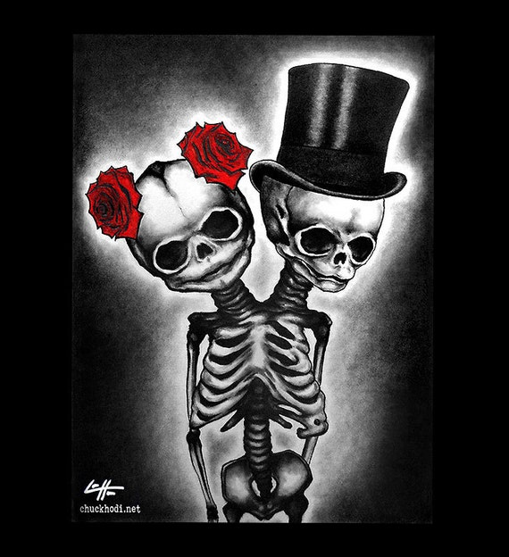 Print 11x14 couple skull skeleton roses tophat top for Skull love tattoos