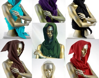 Organic cotton hooded scarf, pointed shape