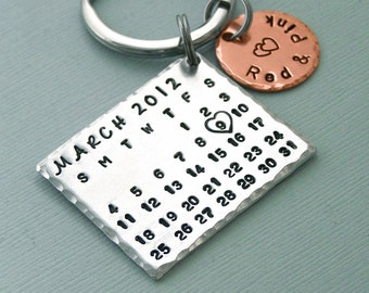 Personalized Calendar Key Ring - Aluminum and Copper Key Chain