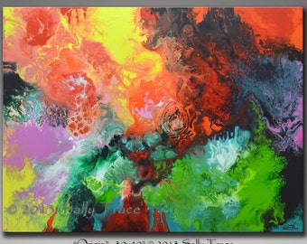 Large wall art, modern art print, giclee print on stretched canvas, from my original abstract acrylic painting,