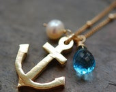 Gold Anchor Necklace, 14K GF Chain, Gemstones, Freshwater Pearl, Blue Quartz Wire Wrapped, Anchors Aweigh