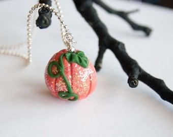 Glitter Orange Pumpkin Necklace, Polymer Clay Jewelry, Autumn Jewelry