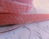 Perfectly Peachy Pink with Metallic Gold Dots Velvet Ribbon 3/8 wide