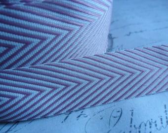 Twill Lilac  and White 5/8 inch Woven Chevron Ribbon Trim