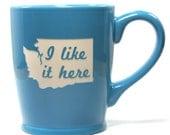 Washington State Mug - Sky Blue - I Like It Here - dishwasher safe cup