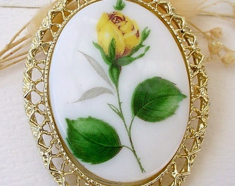 Porcelain Yellow Rose Brooch Pin Pendant Vintage Gold Tone
