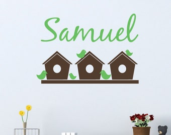 Personalized Name Wall Decal with Birdhouse Decals - Child's Name Wall Decal - Bird Wall Decals - Kid Decals - Baby Name Decal - ND12
