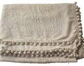 Chenille Blanket w/ Pom-Poms - Vintage Hobnail Chenille Bedspread -