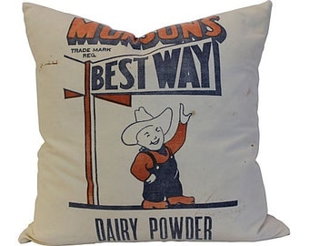 Vintage Feedsack Pillow - Munson Best Way - Blue and Orange on White - Feather Insert - 20""