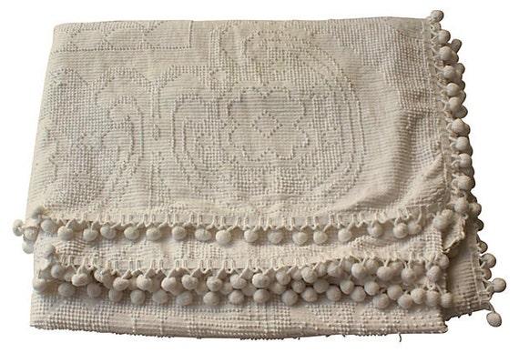 chenille blanket w   pom