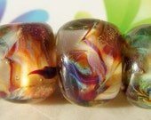 Glass Lampwork Beads Butter Pecan Glamour Rocks