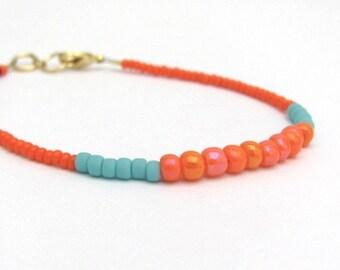Friendship Bracelet, Color Block Bracelet, Orange Turquoise, Stack Layer, Neon Jewelry, Seed Bead Bracelet, Beaded Bracelet, Gift for Her