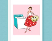 CARD: Mid Century 50s fashionista note card, laundry, cleaning, housework, pink, polka dot