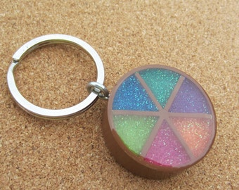 Upcycled Trivial Pursuit Keychain - brown