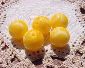Sunshine Marbled Swirls Vintage Lucite Beads