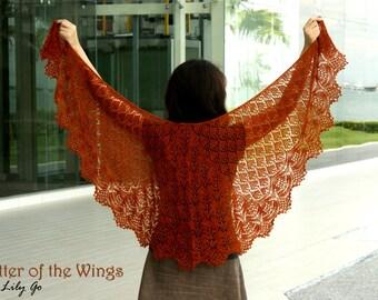 Flutter of the Wings Knitting Shawl Kit (PDF Pattern + Yarns) FREE SHIPPING