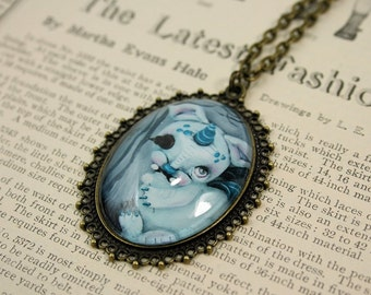 Cameo Steampunk Pop Surrealism Regret Monster Print Necklace