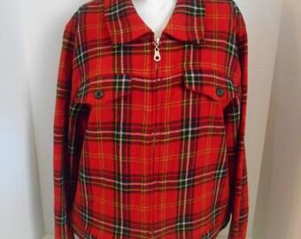 Vintage 90's Plaid tartan wool jacket    red black white green  clothing clothes
